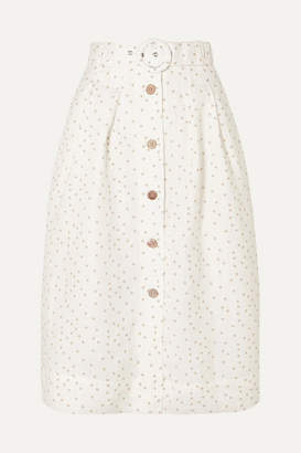 Rebecca Vallance Holliday Belted Polka-dot Linen-blend Skirt - Ivory