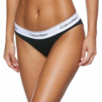 Calvin Klein Damen Slip MODERN COTTON - BIKINI Einfarbig Gr. 40 (Herstellergroe: L) Schwarz (BLACK 001)