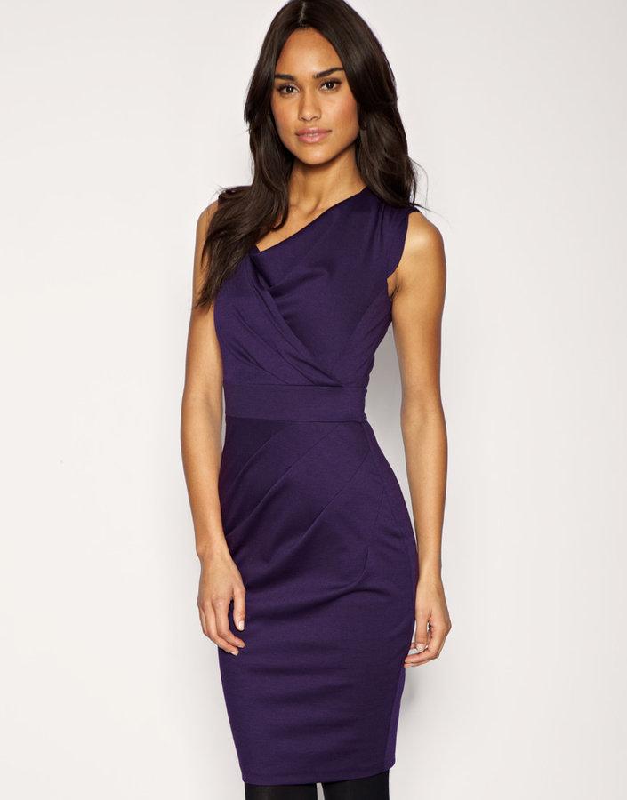 Asos Tailored Pleat Front Ponti Pencil Dress