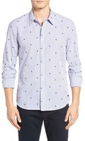 Scotch & Soda Men's Extra Slim Fit Spade Flock Woven Shirt