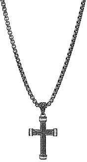 John Hardy Men's Classic Chain Diamond Pavé & Silver Cross Pendant Necklace