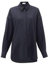 Raey Oversized Step-hem Wool Shirt - Womens - Navy