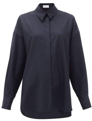 Raey Oversized Step-hem Wool Shirt - Navy