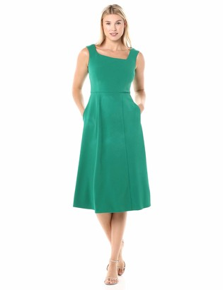 Donna Morgan Women's Stretch Crepe Asymmetric Neckline Fit and Flare Dress
