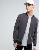 Asos Jersey Bomber Jacket With Contrast Rib In Black