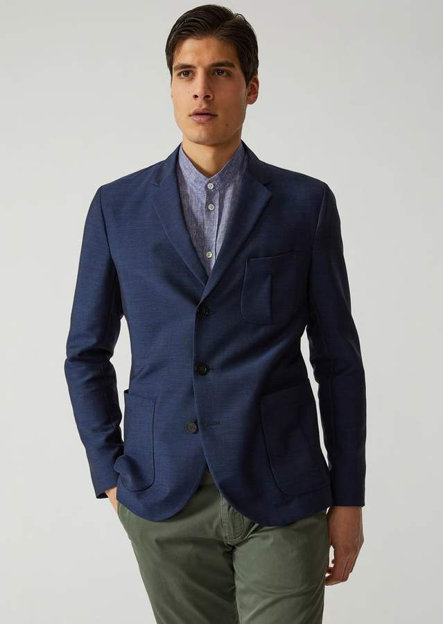 Emporio Armani Jacket In Wool And Silk