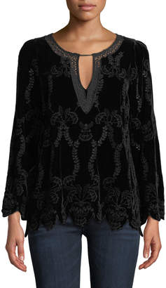 Johnny Was Long-Sleeve Embroidered Velvet Blouse