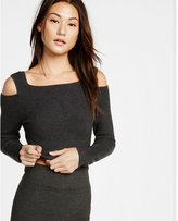 Express cut-out shoulder ribbed pullover sweater