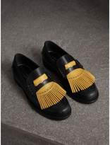 Burberry Contrast Kiltie Fringe Leather Loafers , Size: 39, Yellow