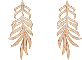 Rosegold Feathered Leaf Statement Drop Earring