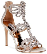 Badgley Mischka Teri Embellished T Strap High Heel Sandals