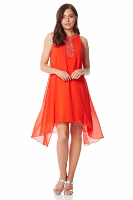 Roman Originals Women Embellished Overlay Swing Dress - Ladies Evening Party Special Occasion Formal Holiday Summer Wedding Guest Cruise Asymmetric Gem Floaty Dress - Orange - Size 12