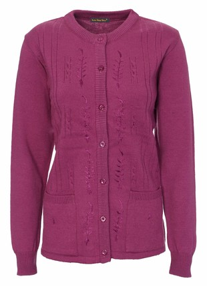 Lets Shop Shop Cardigans for Women Ladies Sizes 14-20 Cable Knit Long Sleeve Button Up Crew Neck Aran Type Grandad Knitwear (LXL