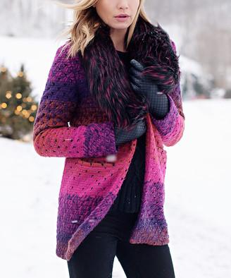 Donna Salyers' Fabulous Faux Furs Donna Salyers' Fabulous-Faux Furs Women's Car Coats Multi - Purple Stripe Faux Fur-Collar Sweater - Women