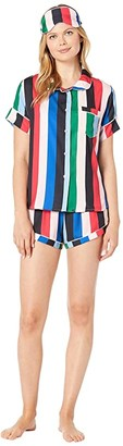 Plush Rainbow Stripe Pajama + Eyemask Set (Multi) Women's Pajama Sets