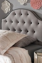 Wholesale Interiors Windsor Modern and Contemporary Greyish Beige Fabric Upholstered Scalloped Buttoned Twin Size Headboard