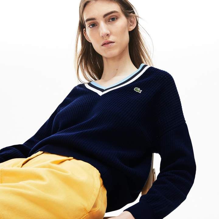 Lacoste Women's Made In France V-Neck Cotton Sweater