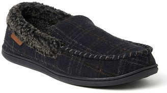 Dearfoams Men's Microfiber Suede Whipstitch Moccasin Slippers