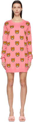 Moschino Pink Knitted Allover Teddy Dress