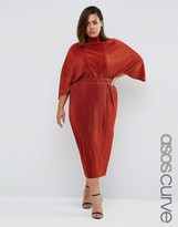 Asos Plisse Dress With High Neck