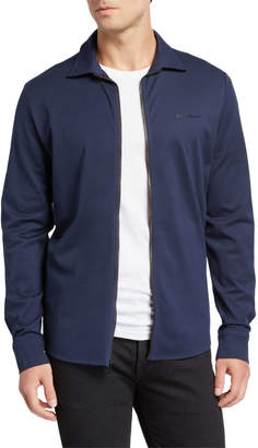 Karl Lagerfeld Paris Men's Zip-Front Long-Sleeve Cotton Shirt