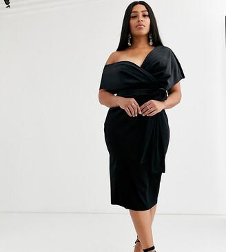 Asos DESIGN Curve velvet fallen shoulder midi pencil dress with tie detail