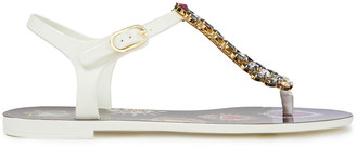 Dolce & Gabbana Leather-trimmed Crystal-embellished Rubber Sandals