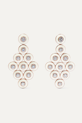 Selim Mouzannar 18-karat Rose Gold, Enamel And Diamond Earrings