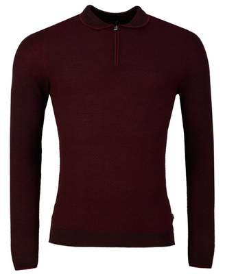 Remus Uomo Zip Neck Long Sleeved Knitted Polo Shirt Colour: WINE, Size