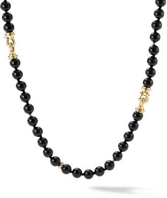 David Yurman Long Combination Bead Buckle Necklace With Black Onyx & 18K Yellow Gold