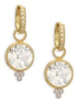 Jude Frances Provence White Topaz, Diamond & 18K Yellow Gold Round Earring Charms