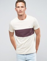 Farah T-Shirt With Chest Band In Slim Fit Cream