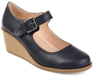 Brinley Co. Womens Comfort-sole Mary Jane Faux Leather Wedges