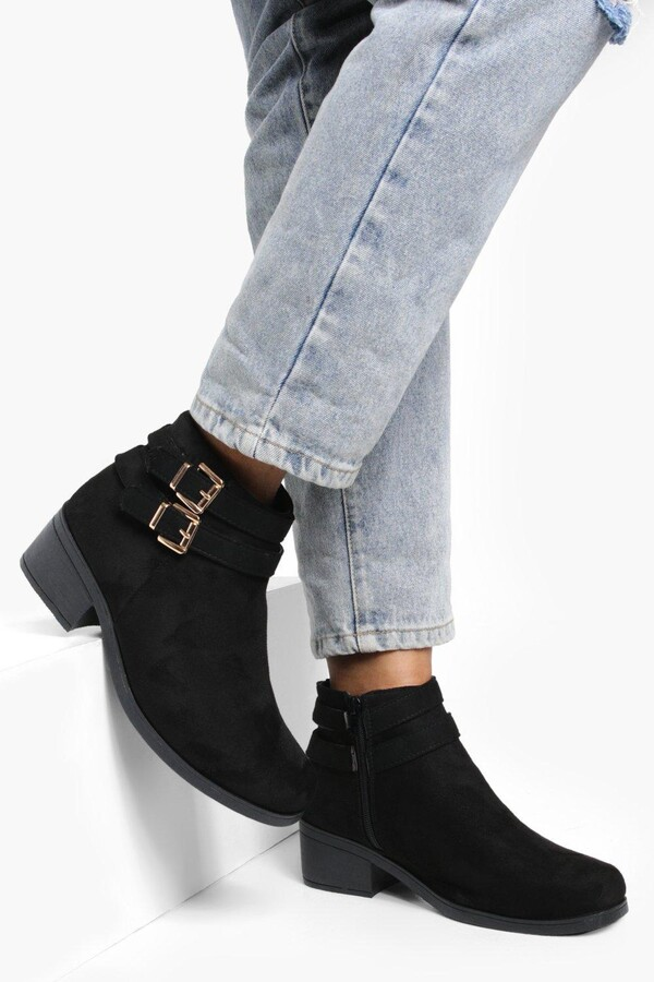 boohoo Double Buckle Chelsea Ankle Boots