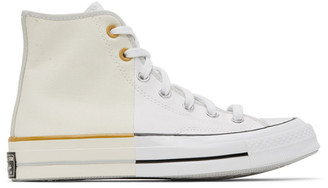 Converse White and Off-White Reconstructed Chuck 70 High Sneakers