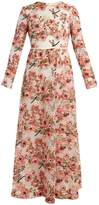 Giambattista Valli Anemone-embroidered long-sleeved dress