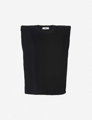 Frankie Shop Eva padded cotton-jersey top