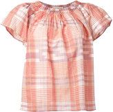 Ulla Johnson off-shoulder plaid blouse