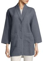 Eileen Fisher Diamond Patterned Cotton Jacket