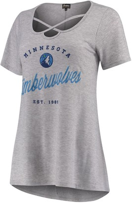 Women's Heathered Gray Minnesota Timberwolves Criss Cross Front Tri-Blend T-Shirt