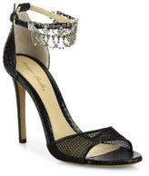 Monique Lhuillier Evelyn Jeweled Snakeskin & Mesh Sandals