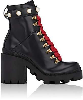 Gucci Women's Trip Leather Ankle Boots - Black