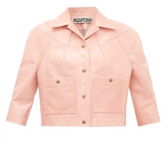 Symonds Pearmain - Cropped-sleeve Leather Jacket - Womens - Pink