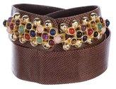 Judith Leiber Embellished Karung Waist Belt