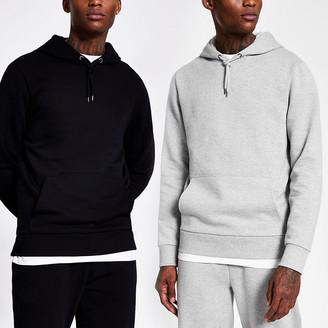 River Island Grey and black hoodie 2 pack