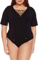 Boutique + + Short Sleeve Bodysuit-Plus