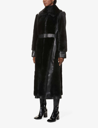 Stella McCartney Collared belted faux-fur coat