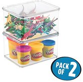 """MetroDecor mDesign Kids/Baby Toy Storage Box, for Action Figures, Cars, Crayons, Puzzles - """", Clear"""