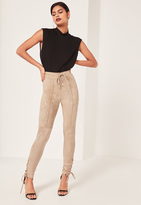 Missguided Lace Up Front Side Faux Suede Leggings Tan