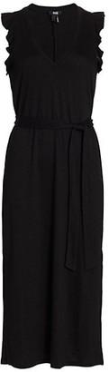Paige Ravyn Ruffle Side-Slit Midi Dress